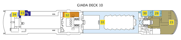 Deck 10 Giada Costa Luminosa - Wellnessbereich Samsara Spa, Squok Club mit Teens Zone, Club Luminosa, Foyer Supernova, Putting Green Area, Formel 1 Rennauto Simulator, Formel 1 Bar, Virtual Golf Game