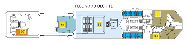 Deck 11 Feel Good Costa Pacifica - Balkonkabinen mit Meerblick Samsara Wellness Bereich, Venus Beauty Salon, Poolbereich La Bamba, Squok Poolbereich, Club Blue Moon