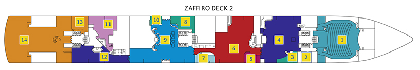 Deck 2 Zaffiro Costa Luminosa - Phoenix Theater, Kino Mizar, Grand Bar Elettra, Sala Carte, Casino & Bar Vega, Zigarrenlounge Rigel, Tour Office, Cutomer Service, Foyer & Bar Supernova, Diskothek Altair, Bar & Lounge Libra, Samsara Restaurant, Ristorante