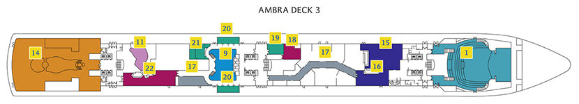 Deck 3 Ambra Costa Luminosa - Phoenix Theater, Piano Bar Antares, Caffetteria Sirius, Shopping Galerie, Sala Regolo, Internet Point, Bibliothek, Foto Area, Foyer Supernova, Kappelle, Diskothek Altair, Bar & Lounge Virgo, Ristorante Taurus