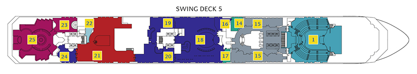 Deck 5 Swing Costa Pacifica - Stardust Theater, Shopping Galerie, Bibliothek Imagine, Sala Carte, Bar Classico Amapola, Grand Bar Rhapsody, Sport Bar Route 66, Caffetteria Rondò, Casino Flamingo, Piano Bar Rick's, Ballsaal Wien Wien, Salon Around the Cloc