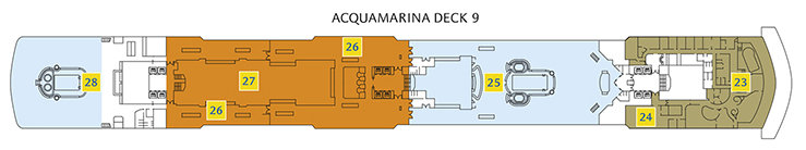 Deck 9 Acquamarina Costa Luminosa - Wellnessbereich Samsara Spa, Venus Beauty Salon, Poolbereich Dorado, Pizzeria, Buffet Restaurant Andromeda, Poolbereich Delphinius