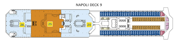 Deck 9 Napoli Costa Fortuna - Poolbereich Oceania 1932, Buffet Restaurant Cristoforo Colombo 1954, Poolbereich Colombo 1954